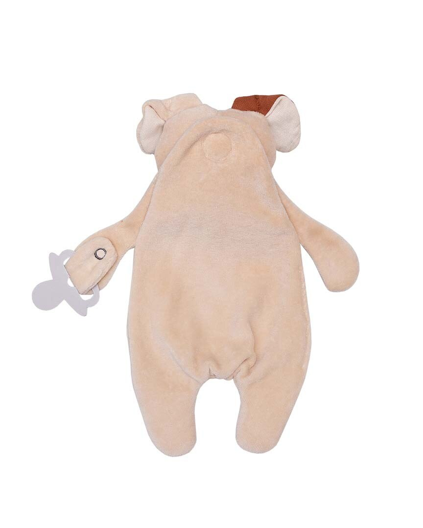 Wooly Organic Teddy Comforter with Dummy Holder Suitable from Birth, Beige